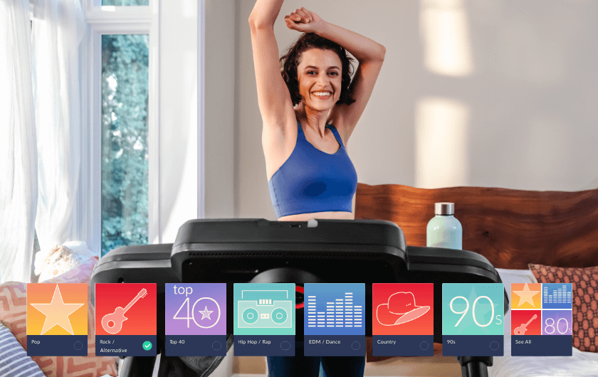 Listen to music while working out on the treadmill