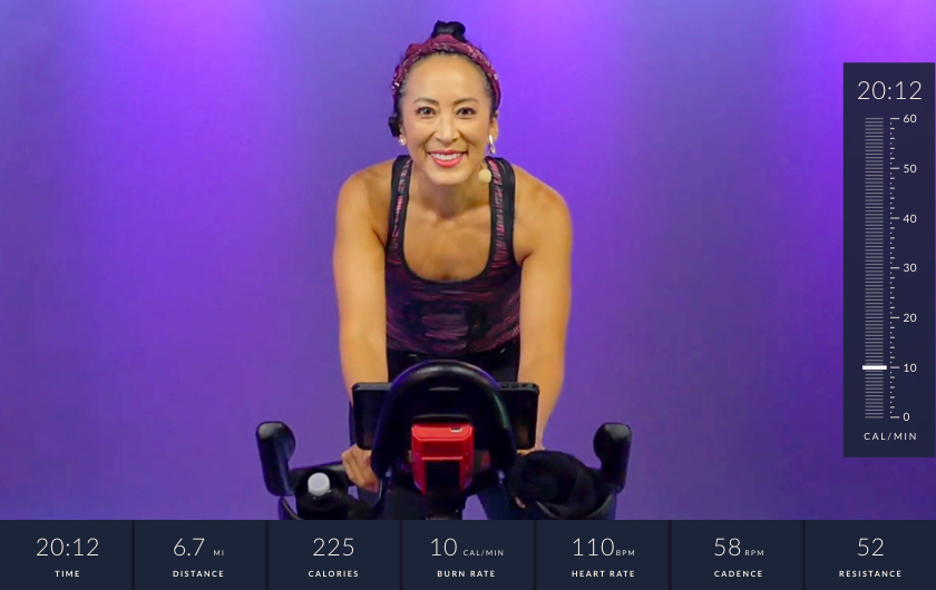 JRNY screenshot of a workout class instructor