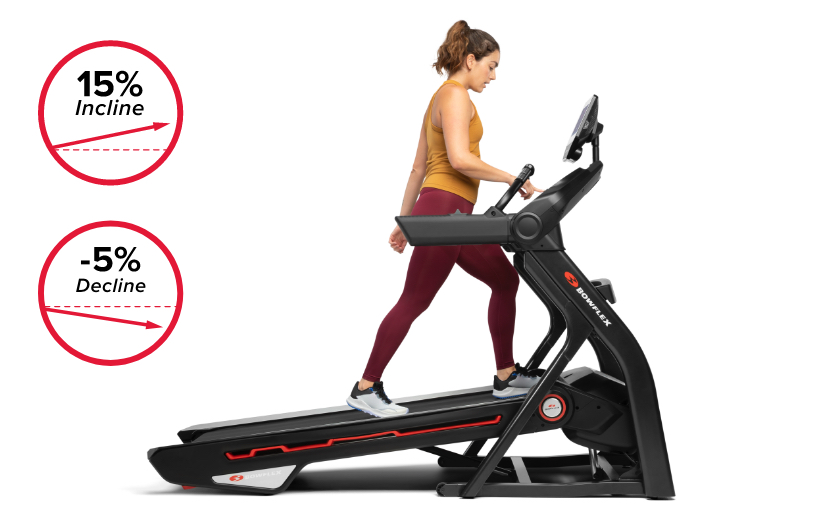 Treadmill 25 comes with motorized incline up to 15% and decline capabilities up to -5%