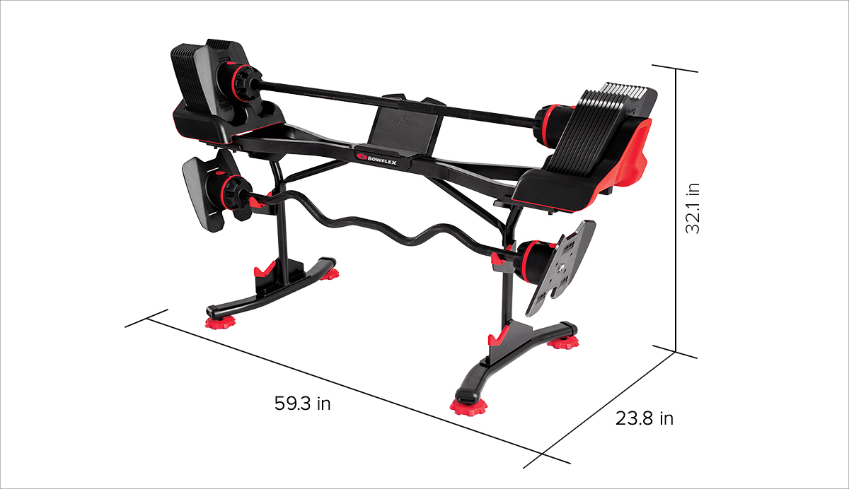 Dimensions of SelectTech 2080 Barbell Stand - 59.3 in x 23.8 in x 32.1 in