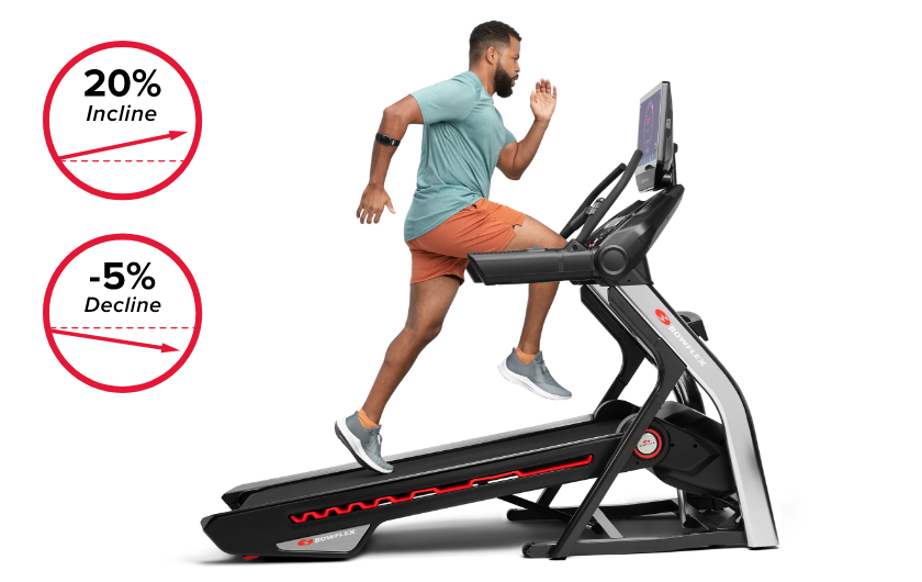 Treadmill 56 comes with motorized incline up to 20% and decline capabilities up to -5%